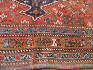 """Antique Persian Afshar Oriental Rug 5'3"""" x 6'1"""" #8025 This late 19th century Afshar measures 5'3"""" x 6'1"""". i have never seen this motif before. It has a blue pulled medallion completely  ..."""