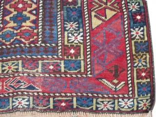 "#6091 Marasali Shirvan Antique Caucasian Rug  This Marasali Shirvan antique Oriental Rug rug dated 1825 measures 4'0"" X 5'6"". It has a prayer design on an ivory field with a lattice design. Each  ..."