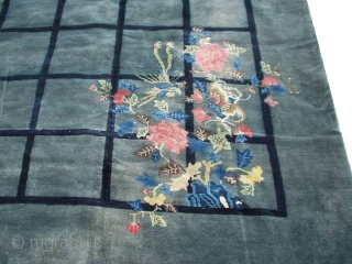 """#6111 Antique Peking Chinese Rug   This circa 1910 Antique Peking Chinese rug measures 9'3"""" X 11'7"""". It has a fantastic design of a riot of flowers in each of the four corners  ..."""