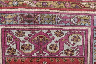 """An attractive Kirshehir Prayer rug with classic """"mihrab"""" panel, 5.22 ft. x 3.8 ft.  (160 x 115 cm.) Around 1860-1870.  Nice colours, incl. a pale light blue in the main border  ..."""