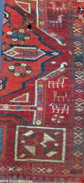 """Early finely woven fragmented Yastik most probably emanating from ancient eastern Turkic lands, pashmina wool, original selvedges, 36"""" X 25""""[92 X 64cm]"""