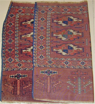 Early Yomud Chuval with bold Elem depicting feathered bird's heads,44'' X 30''(112 X 76cm), 19th. century.