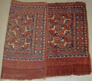 Monumental Yomud Chuval 50'' X 31''(127 X 79cm), early 19th. century, corrosive insect dye highlights, original side cords