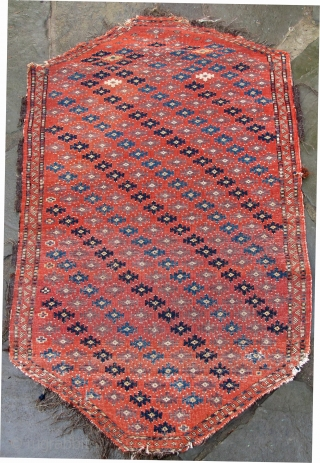 Finely woven rare Chodor trapping, early 19th. century, goat's hair warps, woolen wefting, good pile