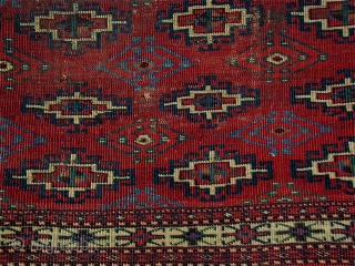 Rare Turkmen Chuval with Memling Guls,  extremely finely woven with Persian knots open right, areas of red wefting, wonderful colors including a rare maroon and light blue. In all my years I have  ...