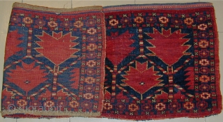 19 century Ersari Torba in mint condition, red wefted throughout, wonderful old colors including yellow, original side finishes as well as original top and bottom finishes,  43'' X 16'' (109 X  ...