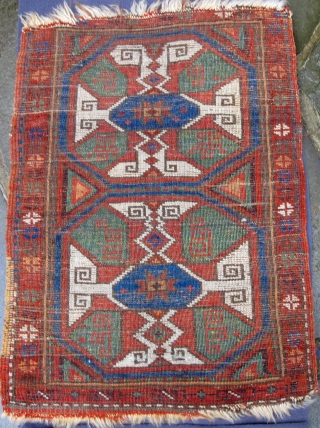 A most unusual finely woven central Anatolian Karapinar Yastic showing Holbein motif including zoomorphic details with beautiful natural colors and full pile, original side cords and some vestiges of original kelim at bottom of  ...