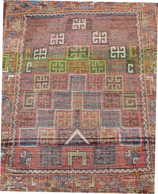 """Karaman prayer rug with unusual design and color palette, early 19th. century, 48"""" X 38""""[122 X 97cm]"""