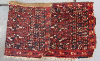 Finely woven Tekke mafrash with procession of differently colored goats in outer border, 19th. century,28'' X 11''(71 X 28cm)