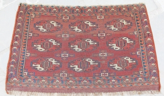Yomud Chuval with unusual rare gul interiors, finely woven with beautiful colors, early 19th. century, 37'' X 24''(94 X 60cm).