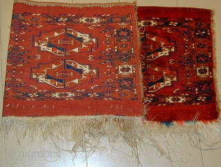 Tekke Torba with interesting tertiary elements and wonderful colors in excellent condition, 19th. century, 50'' X 18''.