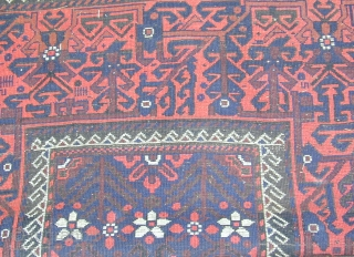 Beluch rug with lovely colors and striking design, scattered corrosion wear, original selvedges, kelim on both ends, 19th. Century,6'7''X 3'7''.