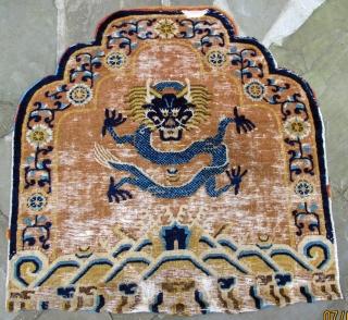 "Monumental ferocious dragon throne back, Ningxia, 17th. century, 34"" X 33""[86 X 84cm]"