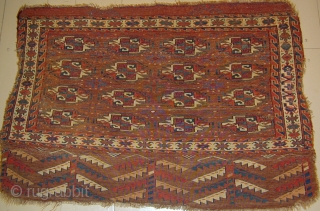 Unusual Yomut Chuval,Early 19th.Century,3' 6'' X 2' 5''. Click on image to view back.