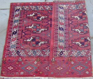 Extraordinarily colorful Yomud Chuval with unusual Elem, 19th. century, excellent condition with original side finishes, 47''X 31'' (120 X 79cm)