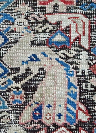 """Dagestan with peacock imagery, Caucasus, 19th. century, 72"""" X 54"""". Quite worn!  Perfect candidate for repairing."""