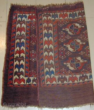 Unusual Yomud Chuval with corrosive insect dye and silk highlights, early 19th. century, 40''X30''(102 X 76cm)