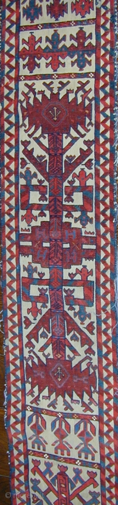 Rare Turkmen tent-band fragment with unusual design, gloriously saturated colors, corrosive insect dye, cotton highlights, excellent condition, circa 1800, 78'' x 14''.  Click to see other images. Shipping included within the U.S.