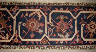 Antique Serapi border.   Wonderful colours.   A great runner for a narrow hall or, heaven forbid, to make cushions.   Uniformly low, small areas of foundation showing.   ...