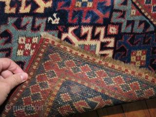 Antique Caucasian Kazak 1'8''x1'9''.  Bought as is.  May have some very good repairs.  I can't see them.