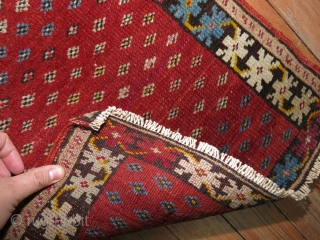 Cool NW Persian Rug?  Maybe Turkish? 1'5''x2'.  One end missing about an inch.  Has been secured.