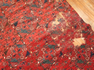 Antique Beshir or Ersari.  10'8''x20'9''.  Was once wider..  Has a bunch of repairs.  Good for repair or for pillows.