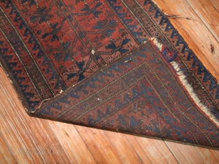 Antique Balouch 1'6''x2'10''.  Has some damages and needs some attention on sides.