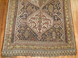 Antique Shiraz 5'x9'3''.  Low areas.  Decorative colors.