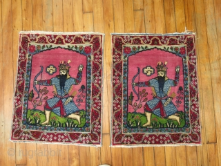 An Awsome pair of Kerman Mats.  Rostam..  was told he was the real life Robin Hood!  Pretty cool and awesome.  Rugs have minor wear in them.  Very  ...