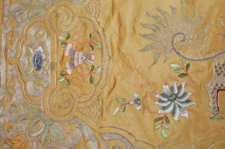 Very Cool silk and metal thread textile.  Measures 1'4''x3'.  Some of them metal thread is loose.