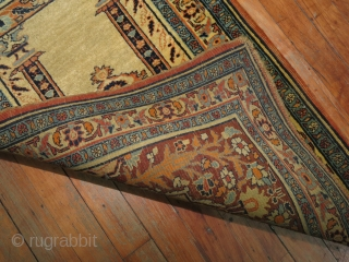 Antique Hadji Ja Lili Tabriz Baby Prayer Mat.  1'10''x2'9''.  Both ends missing a bit.  Super fine and collectible!