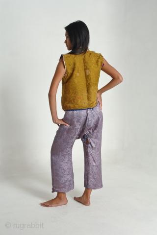 Tibetan Lamas waistcoat in 19thC Chinese silk and 19thC Chinese silk trousers