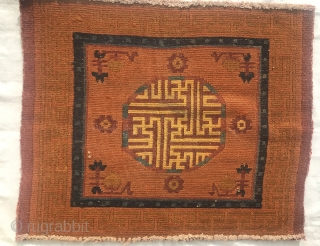 19thC Tibetan meditation square 75x62 cms All natural dyes of high quality made for monastic use Nb:due to monastic and aristocratic sponsorship of weavers there are many different types of Tibetan rug.
