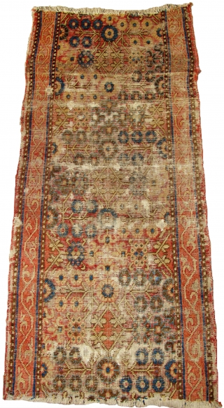"""Khotan runner fragment, earlier type with nicely drawn narrow borders. All good colors, blue and white cotton and several brown wool weft. worn. 5'3""""x2'5"""""""