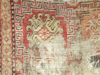 """Khotan Rug, small format blossoms in lattice pattern with all natural colors. soft wool, evident wear and holes. Sourced recently in Tibet. 4""""10' x 2'9"""" (146x81cm)"""