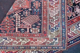 Antique Caucassian Akhistafa Rug wonderful colors and very nice condition all original size 3,25x1,35 cm ( 128'' x 53'' inches ) Circa 1880-1890