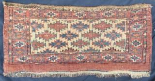 Antique Turkoman white graund very Camel sack  nice condition all original size 70x32 cm (27x13 inches) Circa 1880-1890