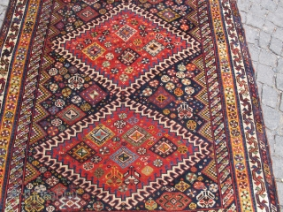 Antique Qashqai wonderful colors and restored condition circa 1890 and size: 2,65 X 1,30 cm