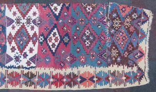 Antique Central Anatolian Kilim Fragment amazing colors and in nice condition all original Circa 1850