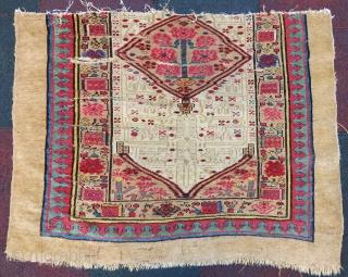 Antique Serap fragment wonderful colors and size 1,20x90 cm Circa 1850