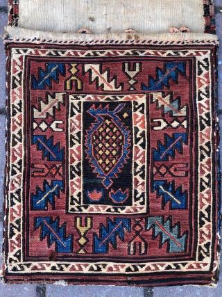 Caucassian Shirvan Sumak  Saddle bag wonderful colors and very nice condition all original size 96x32 cm Circa 1900