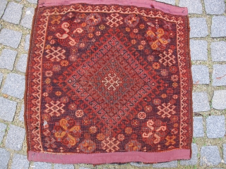 Qashqai bag, 19th century, ca. 85x85cm, natural dyes. Full pile with some mothing. Rare type.