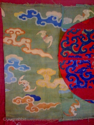 Two important ko-su Ming silk fragments depicting archaic foliete dragons about 3' x 2'