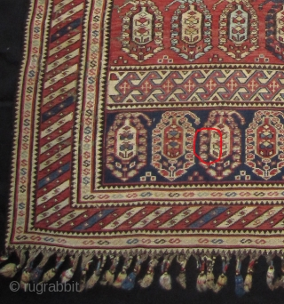Shahsavan horse cover 19th cent. 107 x 109/155 cm. Very thin soumac technic. All wool. All original with no repair. A small (1 inch) hole as can be seen on photo with red mark and detail  ...