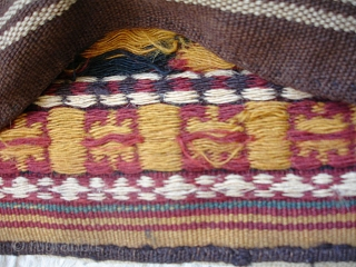 Khorrasan Kurd half saddlebag. 62 x 58 cm. Early 20th cent. Floating weft technic, see image. Good colors and very good condition.