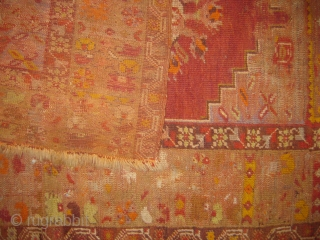 Anatolian rug wear consistent with age and use few small holes as well measuring 5x3.8 ft