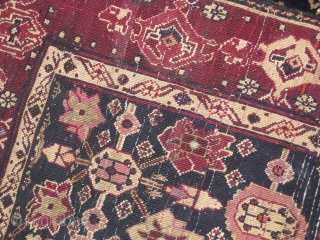 Old Northern Indian rug repaired on some places size: 6 x 4 ft.
