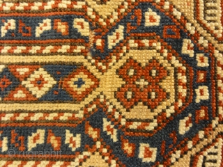 19th Century Caucasian Prayer Rug. Rare Kazak prayer rug on a gold background, ivory border. Wool foundation, red wefts, all natural colors no synthetics.