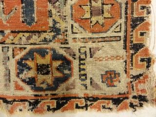 "Antique Rare Size and Design Soumak Rug Size: 2'7″ x 4'3"""