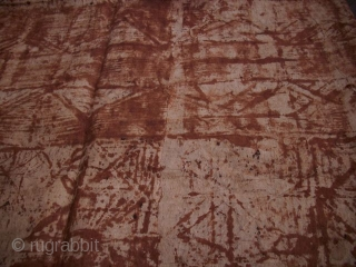 Tapa Bark-Textile, black and brown painting, 237 x  414 cm, Sothern Sea, minor wear